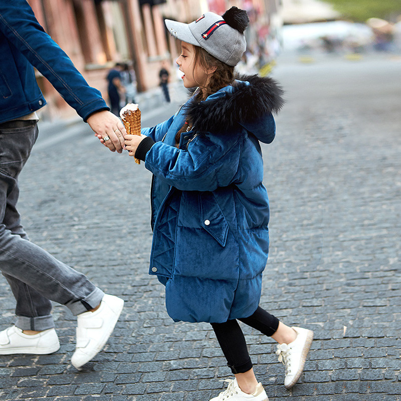 Children's Winter Coat Thick Warm Hooded Jacket Large Raccon fur collar White Duck Down Jackets Girls Pleuche Long Coats JF345