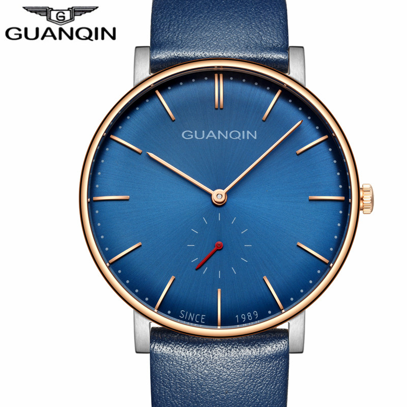 Genuine GUANQIN Luxury Brand Simple Design Leather Strap Quartz Watch Men Fashion Casual Waterproof Wristwatch relogio masculino