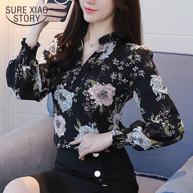 fcd86d54 2018 new spring long sleeved blouses fashion slim casual print plus size  elegant OL style women shirts chiffon clothing D556 30