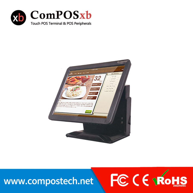 15 inch TFT LCD  All In One Epos System Cashier Register Point Of Sale Resistive Touch Screen Pos System