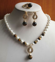 Mother's Day Charming White Pearl/Tiger Eye Stone Necklace Earring Ring(7/8/9) Jewelry Set gem women's jewelry silver