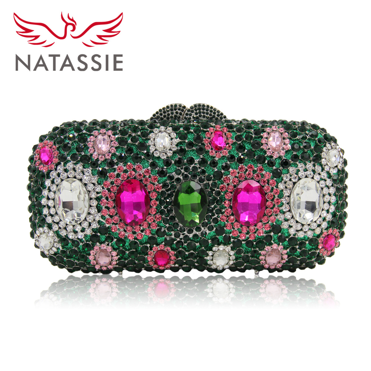 Natassie New Fashion Women Luxury Crystal Clutch Evening Bag Hollow Out of Roses Lady Dinner Party Handbag Wedding Purse women luxury rhinestone clutch evening handbag ladies crystal wedding purses dinner party bag gold