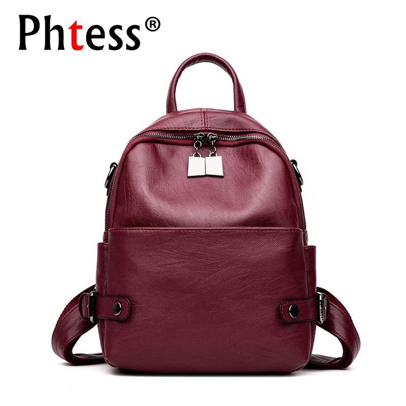 2019 Women Leather Backpacks For Girls Sac A Dos Femme Travel Rucksack Ladies Bagpack Vintage Mochilas Female Shoulder Back Pack