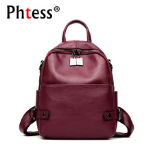 2019 Women Leather Backpacks For Girls Sac a Dos Femme Travel Rucksack Ladies Bagpack Vintage Mochilas Female Shoulder Back Pack