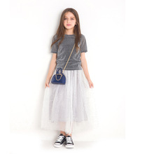 Teenage Girls Dress 2019 Autumn Spring Summer Causal Cute Kids Children Clothes Gray A-line Princess for 8 10 12 Year