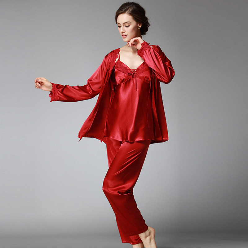 Women   Pajamas     Sets   3 Pieces Sleep Lounge Elegant Satin Sleepwear Autumn Spring V-Neck Pyjama Femme Silk Long Sleeve Home Suit