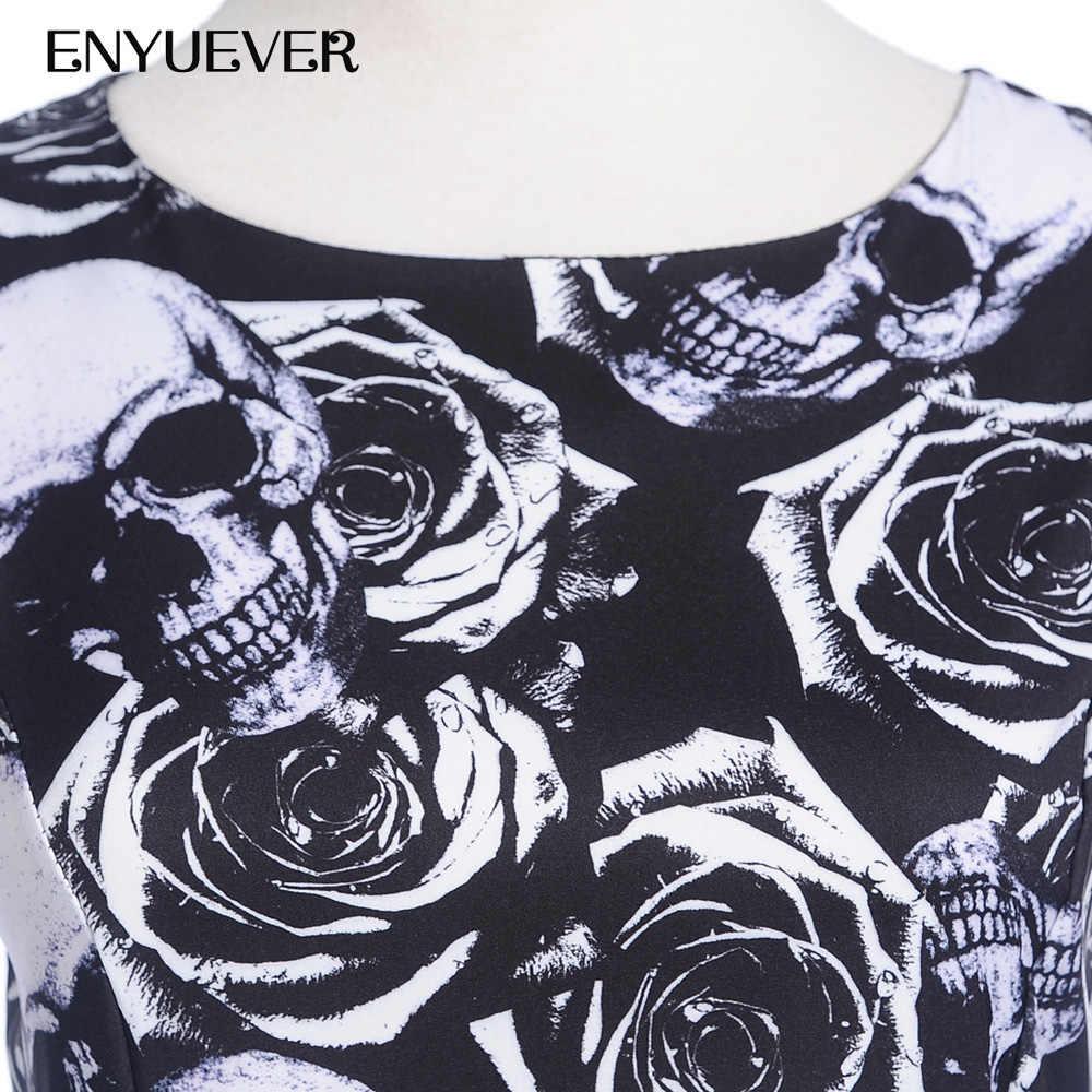 093b542661b ... Enyuever Plus Size Halloween Dress Women 2019 Skull Print Pin Up 50s  Swing Gothic Party Vestido ...