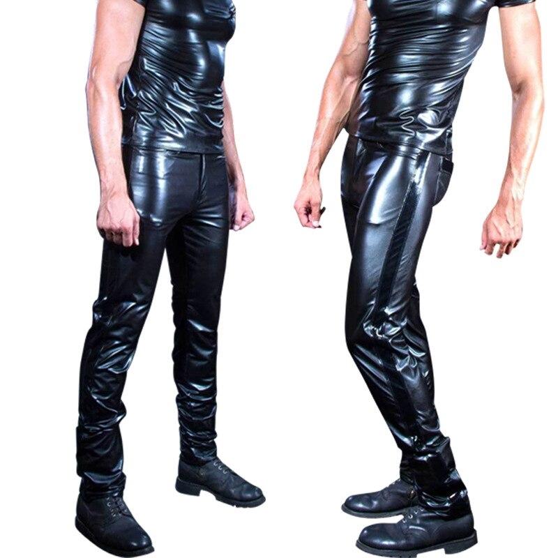 Men Sexy Black Wetlook Faux Leather Lingerie pole dance Exotic Pants PU Latex Catsuit Zipper PVC Stage Clubwear gay fetish Pants