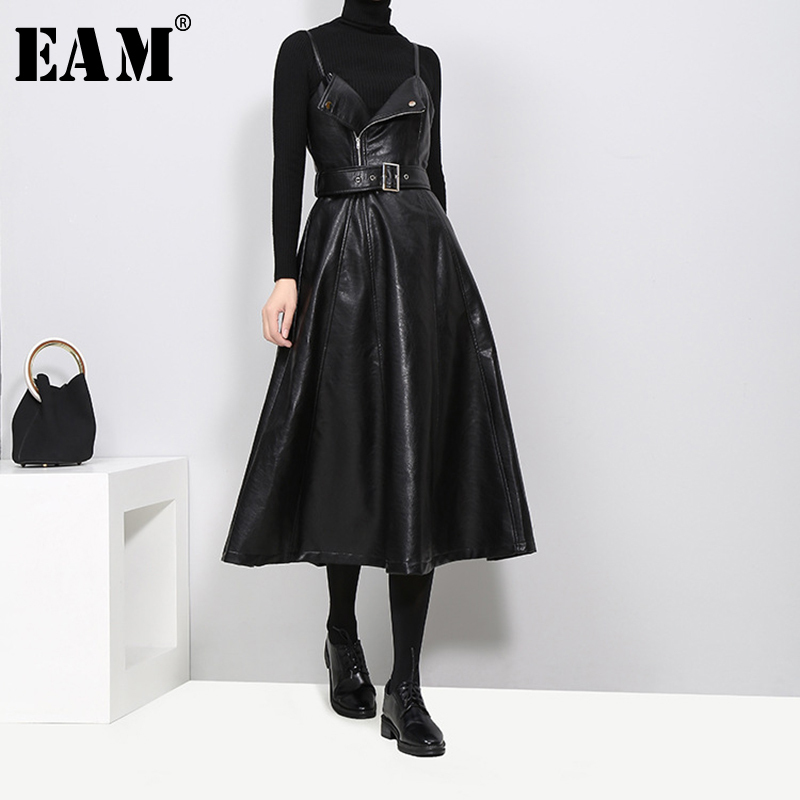 [EAM] 2019 New Spring  Solid Color Strapless Black PU Leather High Waist Belt Zipper Loose Dress For Women Fashion Tide JD032