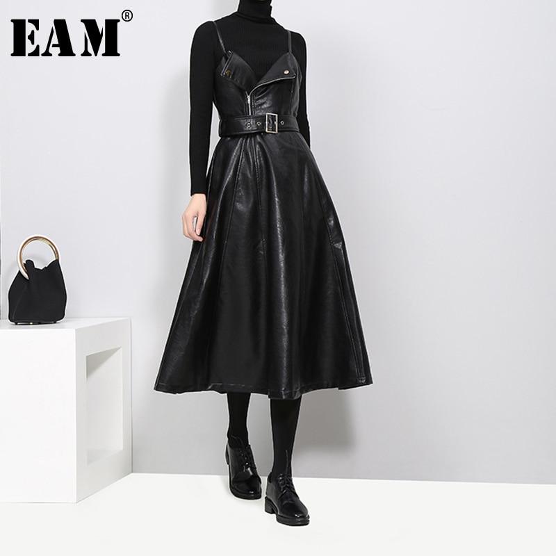 €25.46 28% СКИДКА|[EAM] 2020 Новое весенне осеннее однотонное черное из искусственной кожи без бретелек с высокой талией и ремнем на молнии Свободное женское модное платье JD032|Платья| |  - AliExpress