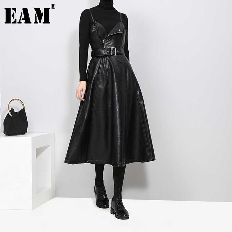 [Eem] 2020 yeni sonbahar kış katı renk straplez siyah PU deri yüksek bel kemeri fermuar gevşek elbise kadın moda gelgit JD032