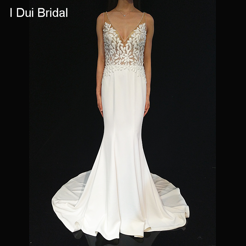 Detachable Train Illusion Neckline Wedding Dress Mermaid