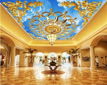 beibehang HD fashion high decorative papel de parede 3d wallpaper 3D European personality yellow blue sky white clouds ceiling