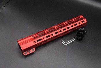 TriRock Chinese Red Anodized 12'' inch M-lok Handguard Rail Clamping Style Free Float Picatinny Mount System Fit .223/5.56