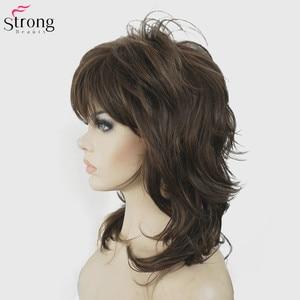 Image 4 - Strongbeauty perucas sintéticas para as mulheres cabelo natural ombre loira/marrom destaques médio encaracolado em camadas capless perucas cosplay