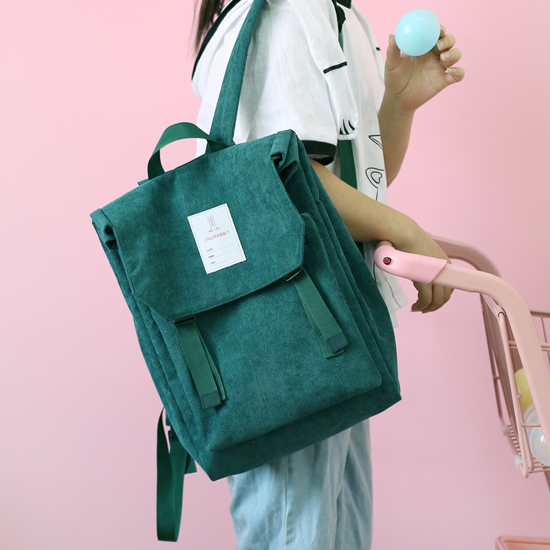 Korean Corduroy Women Gray Backpack Preppy Style Rabbit Travel School Bag Pack For Teenage Girls Mochila Bagpack Black Green