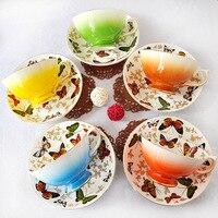 뜨거운 뼈 중국 커피 컵 유럽 스타일의 컵 세라믹 접시 영어 오후 차 세트 240 미리리터 패션 사무실 레드