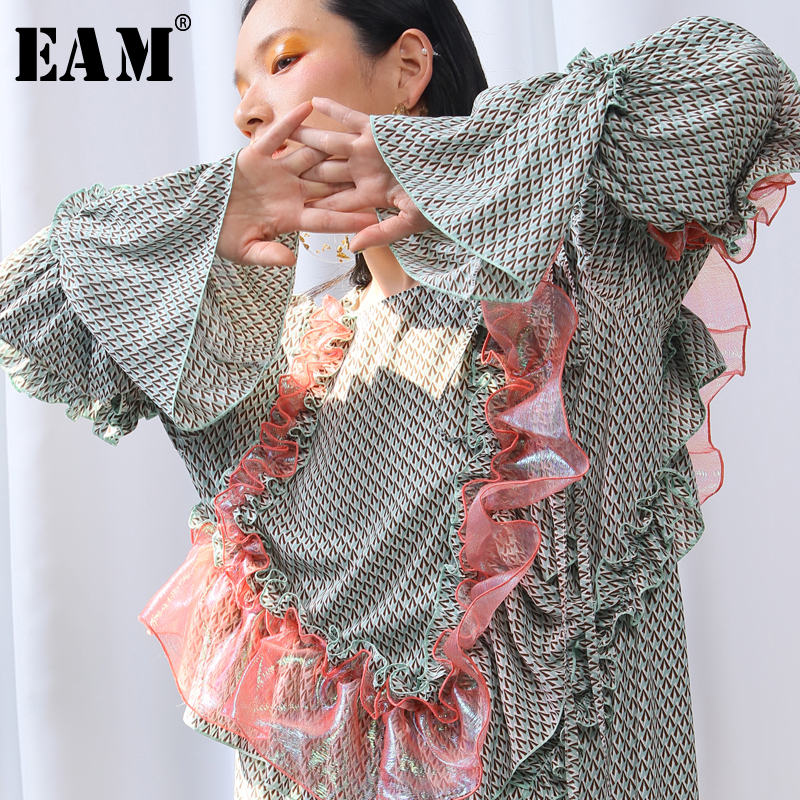 EAM 2019 New Spring Summer Round Neck Long Sleeve Green Pattern Printed Ruffles Split Joint
