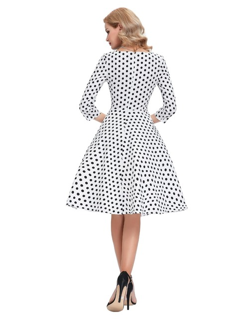 50s Polka Dot Vintage Robe Ete Bow Black Peas Plus Size Sleeve Womens Summer Dresses 2016 Summer Casual Dress Vestidos Femininos