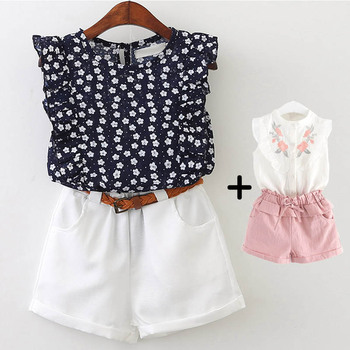 2018 Summer Children Clothing Set Embroidery Flower Sleeveless Shirts Pink Pants Girls Clothes Suits 3-7 Kids Girl Suits conjuntos casuales para niñas
