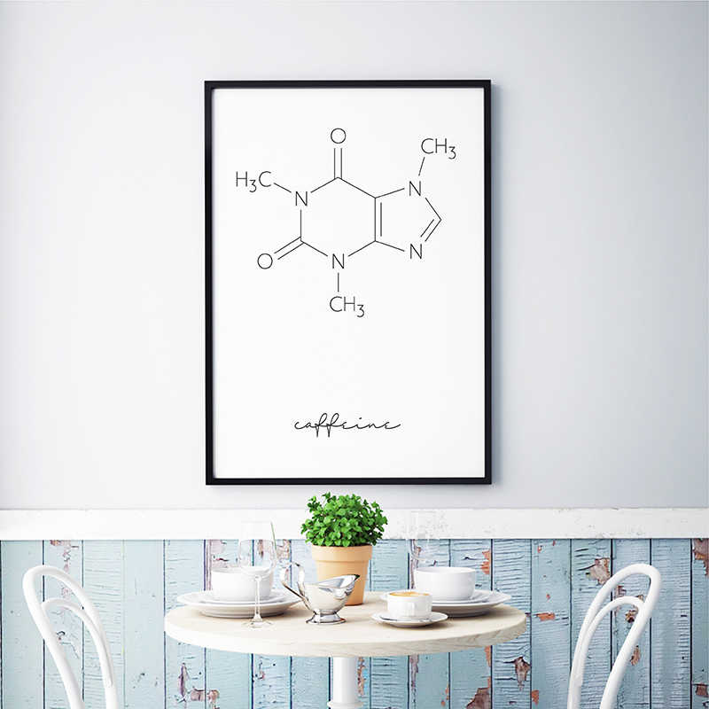 Caffeine Molecule Coffee Chemistry Poster Print Minimalist Science Posters Wall Art Canvas Painting Picture Cafe Shop Decoration