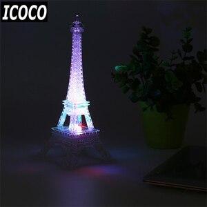 Image 2 - ICOCO 1pcs 7 Cambiamento di Colore Torre Eiffel Luce di Notte del LED Da Tavolo Scrivania Romantico Mood Light Lampada Da Tavolo Arredamento Camera Da Letto romantico Regalo