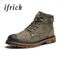 Genuine Leather Male Motorcycle Boots Fashion Young Casual Shoes Leather Martin Boots for Men Rubber Non Slip Men Vintage Boots
