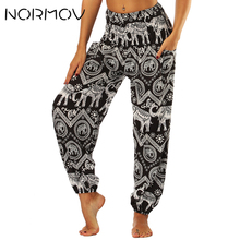 bf1d3f7170166 NORMOV Summer Yoga Pants Tights Women Elephant Printed Bloomers Pocket  Fitness Clothing Training High Waist Pants