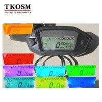 TKOSM Motorcycle LCD Digital Speedometer Odometer 7 Color Backlight Motorcycle Odometer for 1,2,4 Cylinders with Speed Sensor