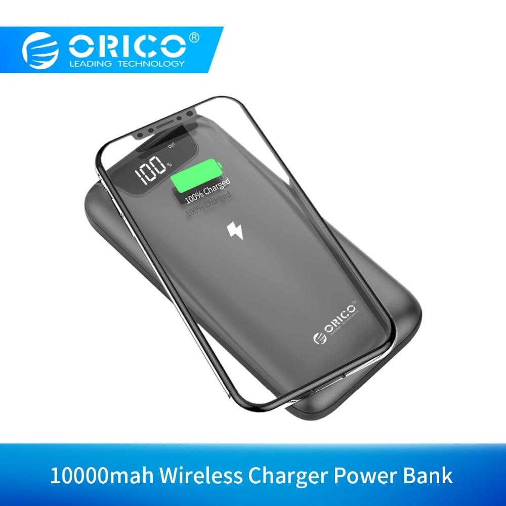 ORICO 10000 mah batterie externe avec chargeur sans fil 2A chargeur portatif à deux bornes usb avec écran LCD chargeur pour téléphone portable iPhone