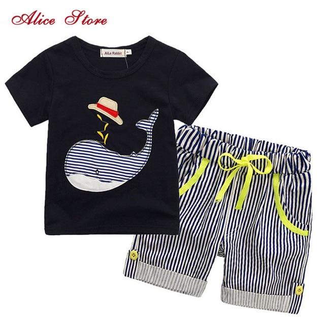 """80-130 ס""""מ כותנה ילדים בני בגדי ילדי בגדי סטי קיץ תינוק ילד בגדים חמוד לווייתן ילדי של סטים חולצה ג 'ינס מכנסיים"""