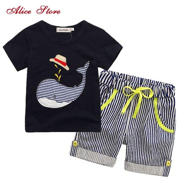 80-130cm Cotton Kids Boys Clothes Children Clothing Sets Summer Baby Boy Clothes Cute Whale Children's Sets T-Shirt Denim Pants