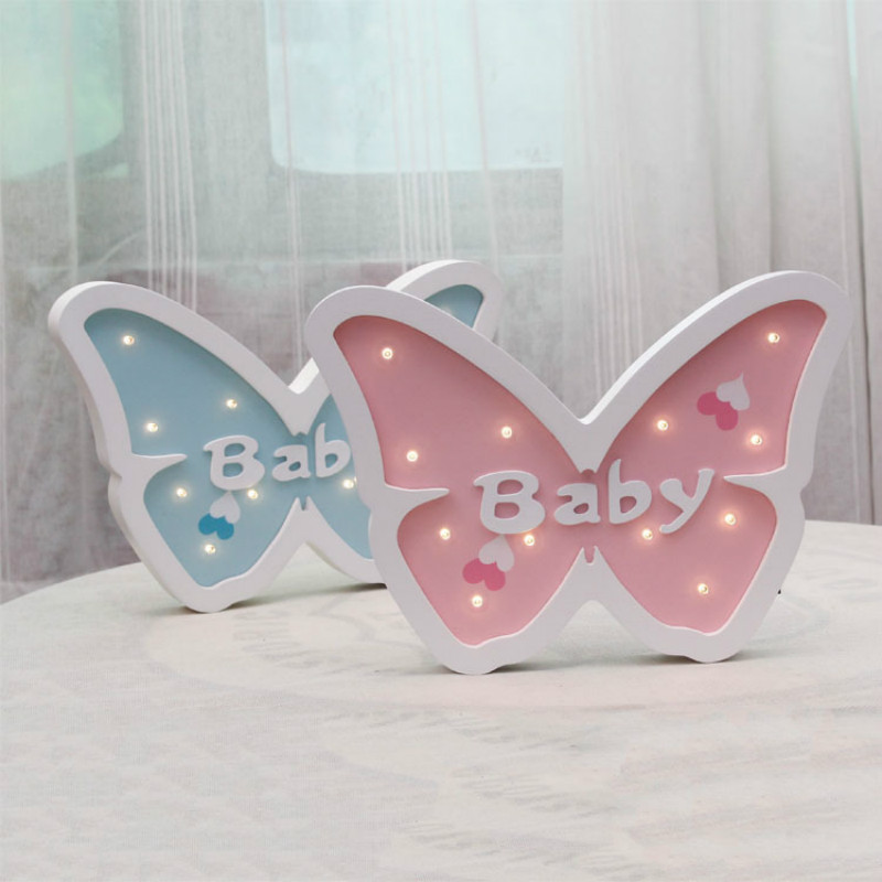 Cartoon Butterfly Modeling Light LED Nattlys Baby Room Dectoration - Ferie belysning - Foto 2