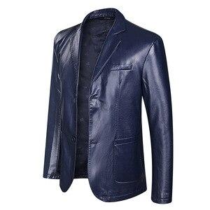 Image 3 - Dropshipping wiosna i jesień luźny, z klapami skórzana kurtka mężczyźni plus size skórzane casualowa kurtka męskie płaszcz skórzany