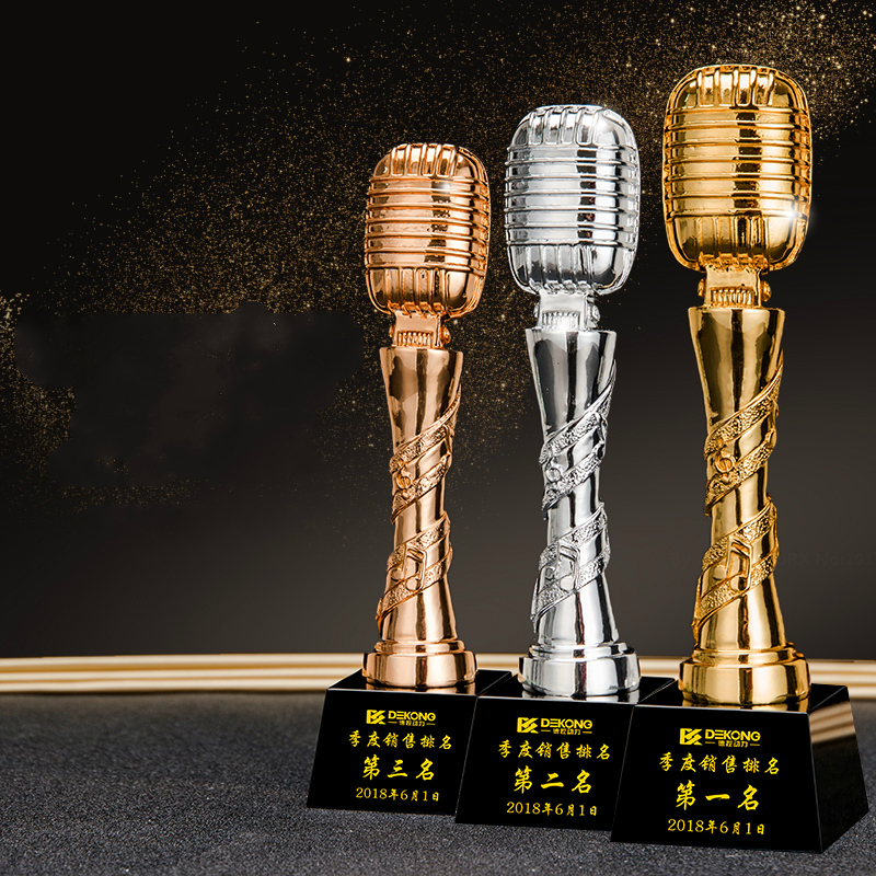 Gold Microphone Trophy Customized Music Host Contest Souvenir Top Ten Singers Singing Competition And Speech Trophy Cup Award