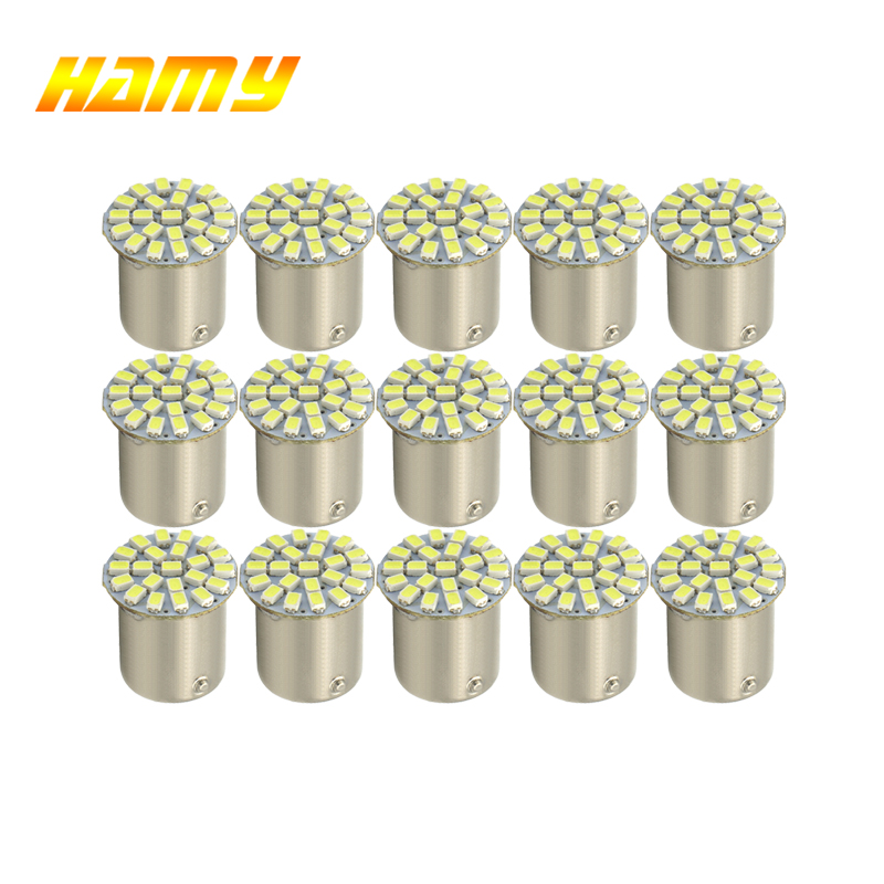 10x Car P21W 1156 BA15S 1157 Bay15d LED Bulb Turn Signal Light Auto Tail Reverse Brake Turn Parking Lamp 12V 22smd Red White Red