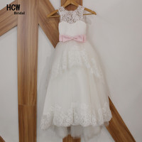 White Tulle Lace A Line Flower Girl Dresses 2017 High Quality Sleeveless Floor Length With Pink
