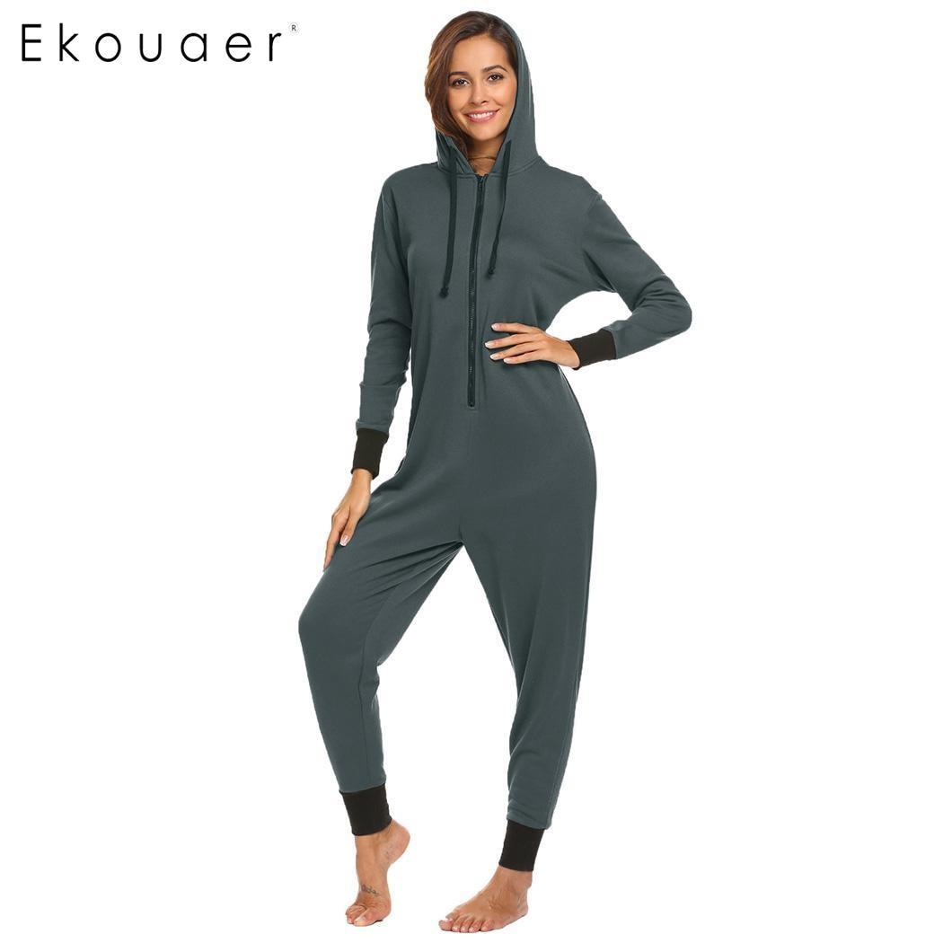 Ekouaer Women Winter Pajamas Set Hooded Long Sleeve Zip Up Fleece Lined One-Piece Pajama ...