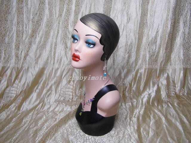 Buste mannequin femme vintage en fibre de verre de haute qualité pour bague et perruques et chapeau et bijoux