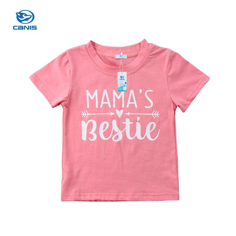 2018 Neue Marke Sommer Nette Kleinkind Baby Mädchen T-shirts Kurzarm Oansatz Pullover Buchstabedruckes Rosa Tops Outfit 1-6y Hohe Sicherheit