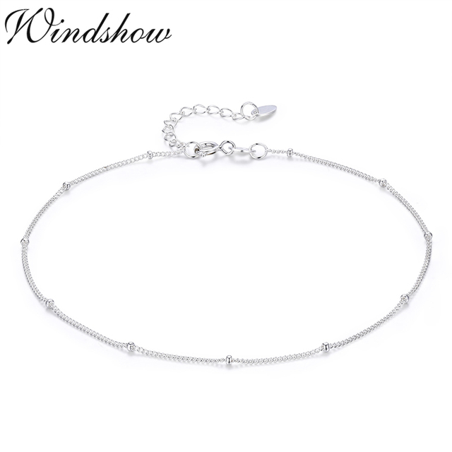 Thin Pure Real 925 Sterling Silver Beads Curb Chains Anklet For Women Girls Friend Foot Jewelry Leg Bracelet Barefoot Tobillera by Windshow