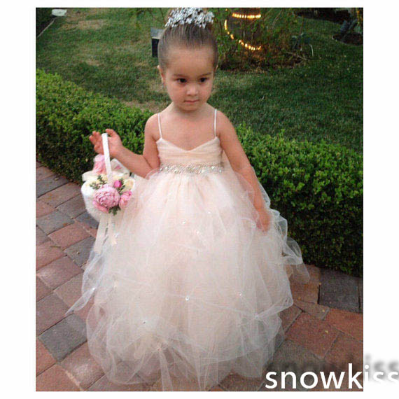 Lovely long toddler flower girl dresses with crystal bow sash gorgeous ruffled tulle ball gowns for wedding formal occasion little girl infant girl toddler girl s formal dresses with stunning crystal beading 1t 6t g155