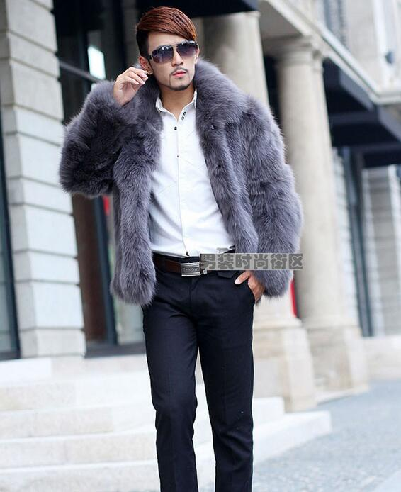 Winter mens faux fox fur coats thicken warm overcoat mens leather jackets and coats masculino chaqueta european plus size S 6XL in Faux Leather Coats from Men 39 s Clothing