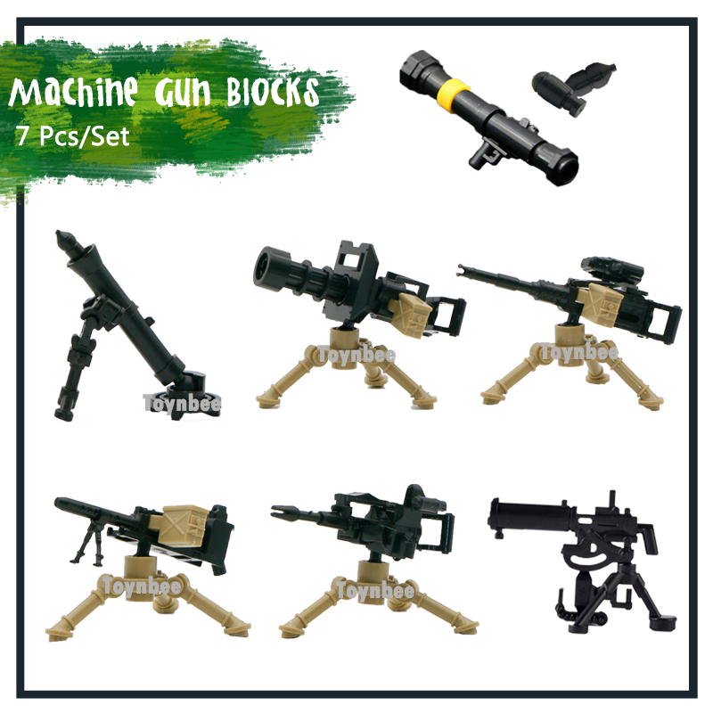7pcs Military Weapon MOC Building Blocks Army Gatling Machine Gun Soldier Figure Accessory WW2 Bricks Toys Compatible LegoINGlys