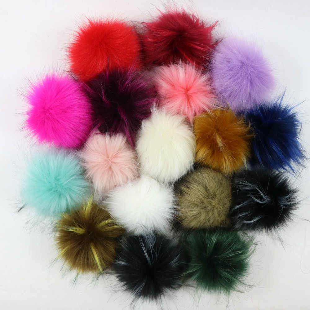 10cm Faux Fox Fur Fluffy Pompom Ball Mix Colors for Hats Charms Accessories  Button Kids Caps Removable Knitting Woman Hat