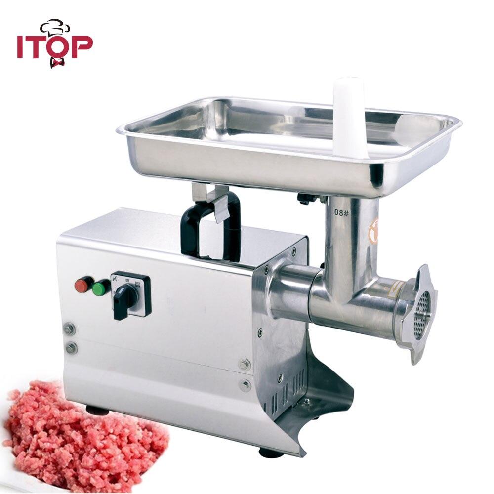 ITOP 80kgs/h Molinillo Eléctrico de carne comercial de acero inoxidable picadora de carne máquina de llenado de salchichas picadora de alimentos de alta resistencia