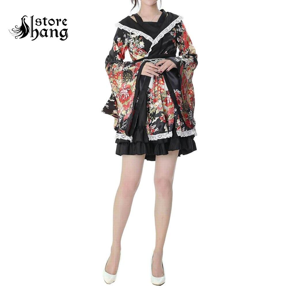 Lolita GokuRakuJoudo Sakura Kimono Maid Dress Uniform Outfit Cosplay Costumes