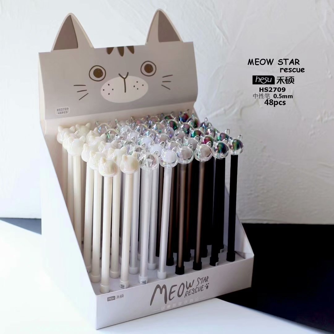 36 pcs Gel Pens Cartoon Glass cat black colored gel inkpens for writing Cute stationery office