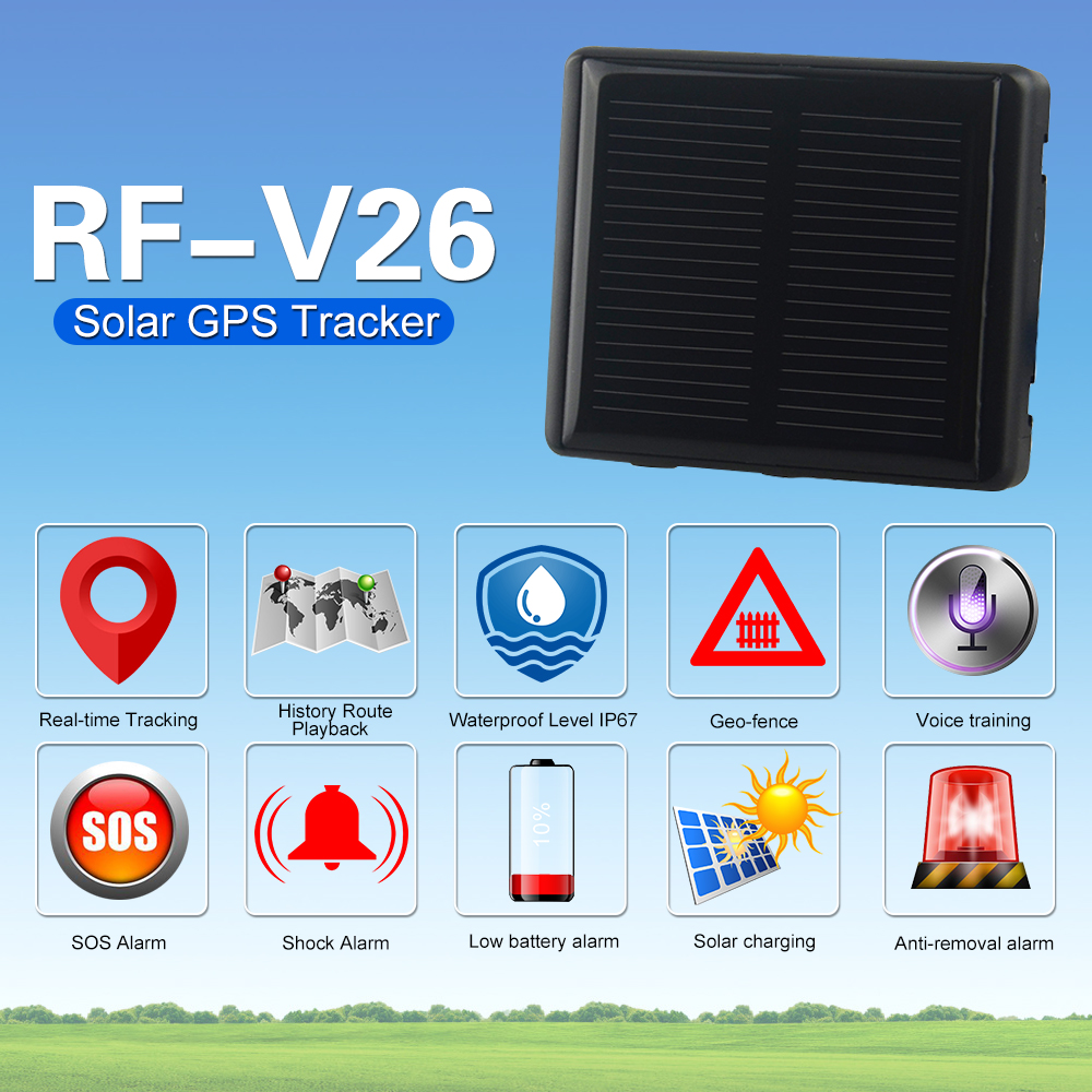 5pcs Solar power GPS Wifi GSM track er RF V26 for cow cattle solar chargeable animal