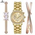 LIANDU Роскошные женские Часы Женщины Моды Золотой Браслет Часы Набор Платье Ювелирные Изделия Часы Часы Дамы Случайные Кварцевые Наручные Часы